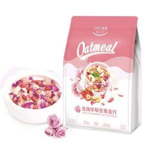 欧扎克 玫瑰草莓坚果麦片