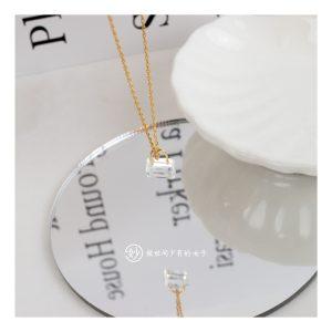 妙小锁头透明石英石小众设计吊坠金色链条项链锁骨链