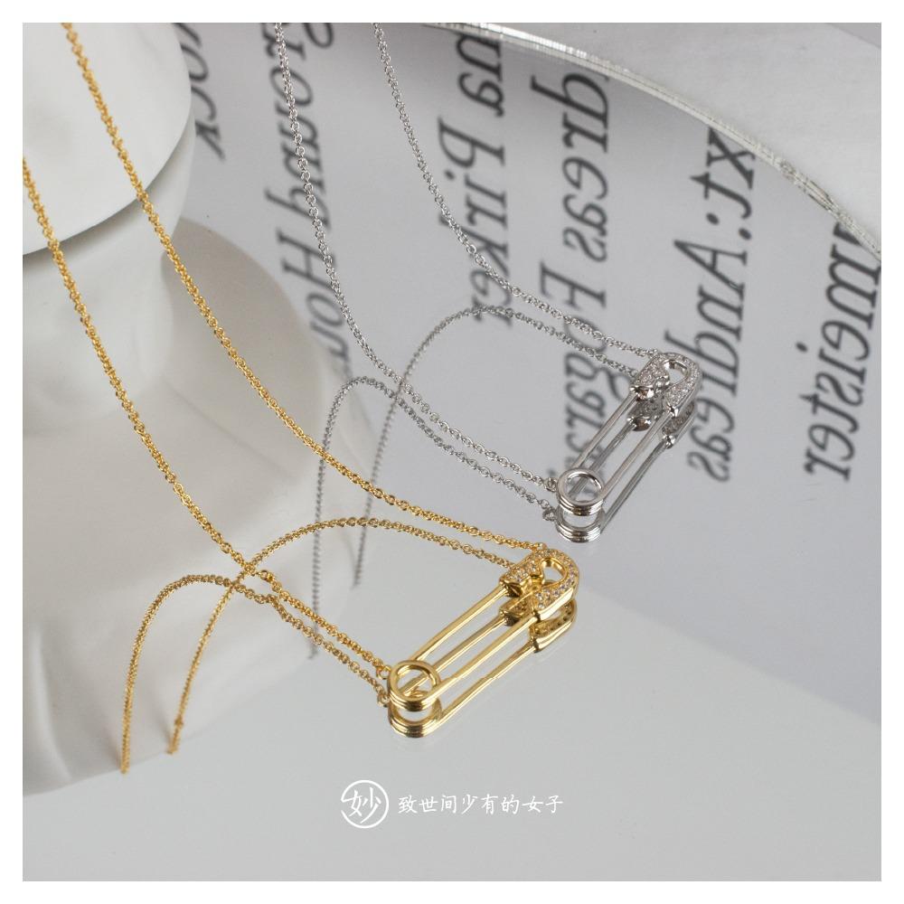 妙曲别针趣味造型个性别致金银双色项链锁骨链女镶钻