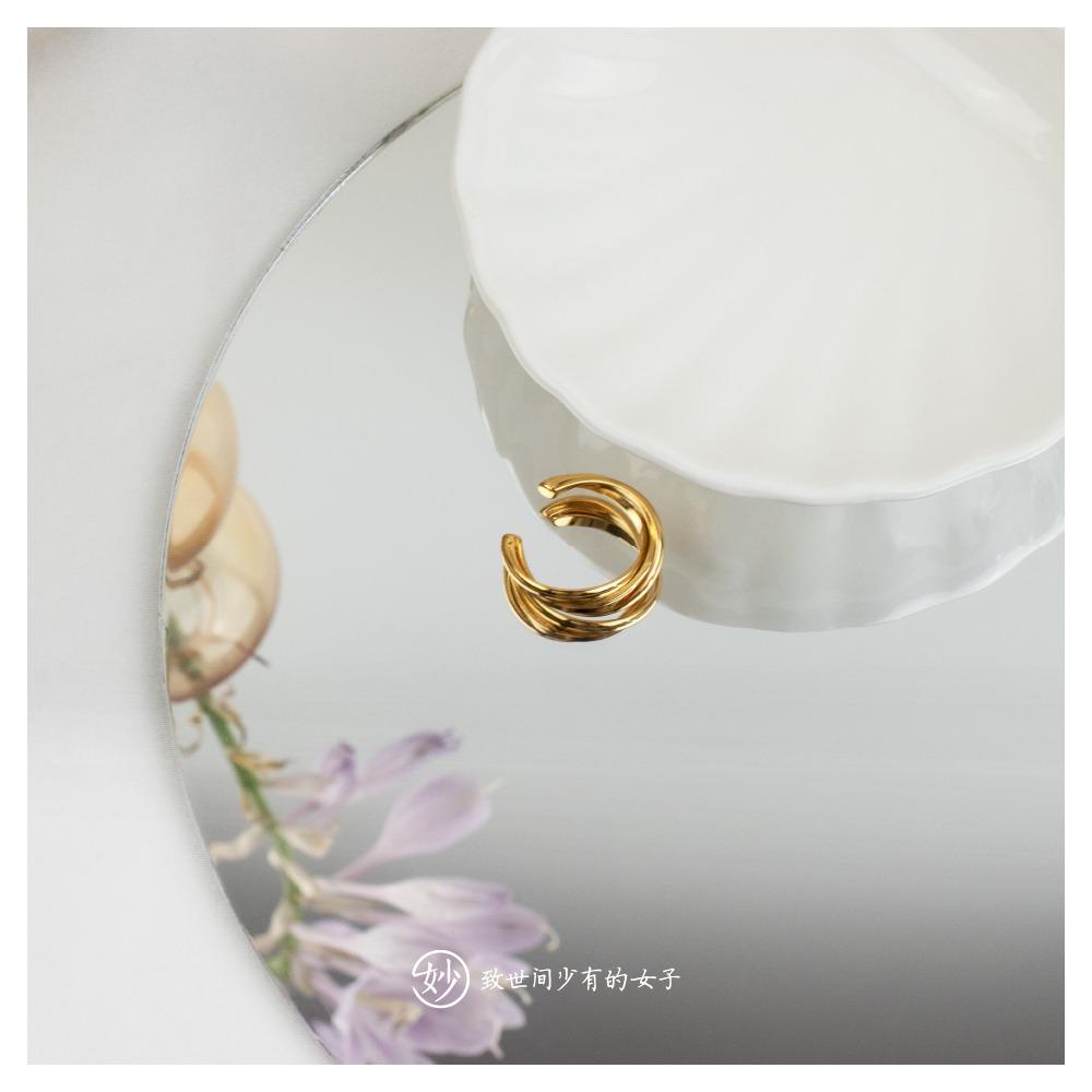 妙法国小众设计感开口可调节金色复古ins风戒指女食指环