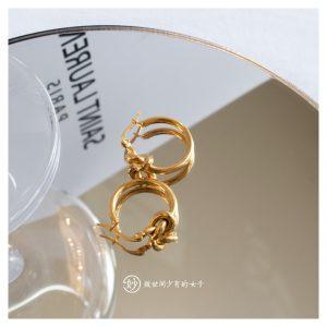 妙法国Celine风打结麻花元素金银双色小圆圈极简百搭风耳环耳扣
