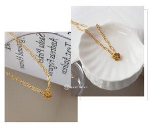 妙泫雅风小花吊坠项链女欧美金属链条小众高级设计锁骨链颈链