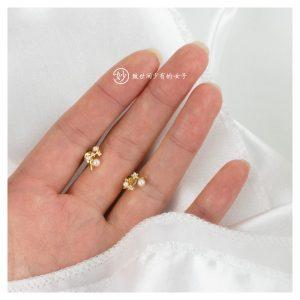 妙珍珠镶钻树杈造型耳钉耳环女小巧精致约会必备气质
