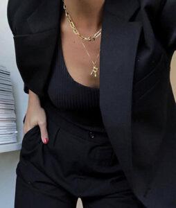 妙竹节字母项链女专属自己的字母气质百搭锁骨链毛衣链