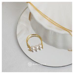 妙纯手工简约精致珍珠戒指尾戒设计款复古感个性造型百搭叠戴