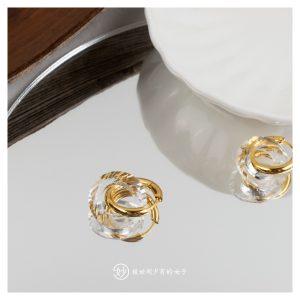 妙金色透明双圈环绕造型耳钉耳环设计师款独特自制风格