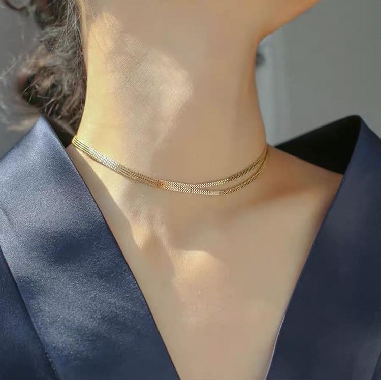 妙项链女小众复古设计感双层白银分叉简约气质锁骨链颈链