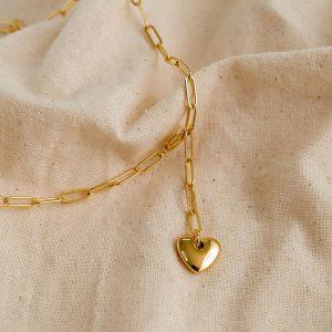 妙18k金立体爱心吊坠项链女复古设计心形锁骨链小巧百搭款