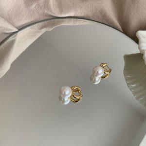 妙/法式高级感气质大珍珠圆耳环 耳钉 简约时髦精致通勤
