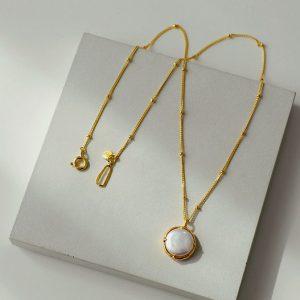 妙/超美 巴洛克珍珠项链镀金锁骨链 秋冬新款毛衣链