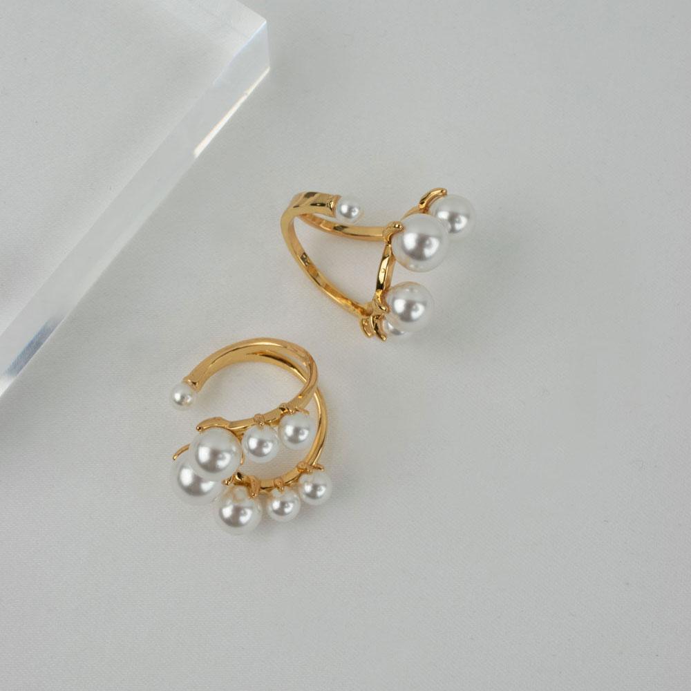 qimiao-月牙珍珠戒指 复古气质欧美法式食指戒