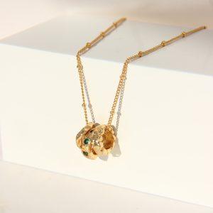 妙 三环转运珠项链 复古绿宝石锁骨链
