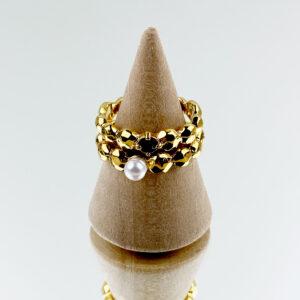 妙/ 时尚蜂巢戒指 珍珠VS红宝石堆叠戒指