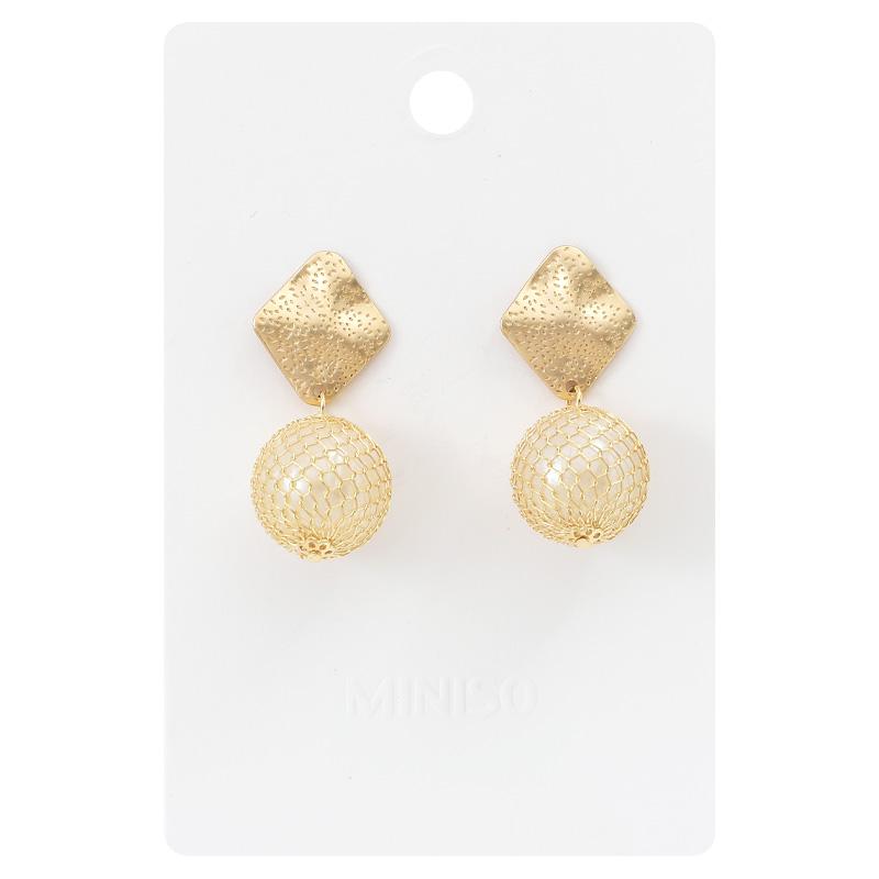 奇妙-MINISO 名创优品 • 金色网珠吊坠耳环