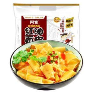 奇妙零食-阿宽红油面皮酸辣味四连包干拌420g